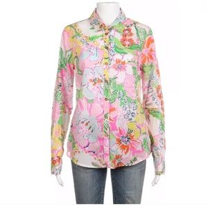Lilly Pulitzer Target pink green floral Top Small